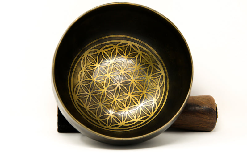 Dark gold lotus Flower of Life Hand Hammered Tibetan Singing Bowl  floral