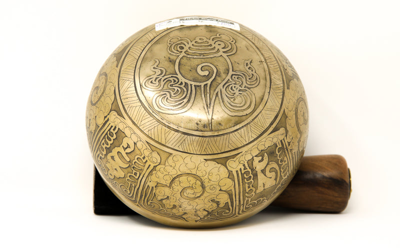 gold OM MANI PAD ME HUM etching Hand Hammered Singing Bowl exterior