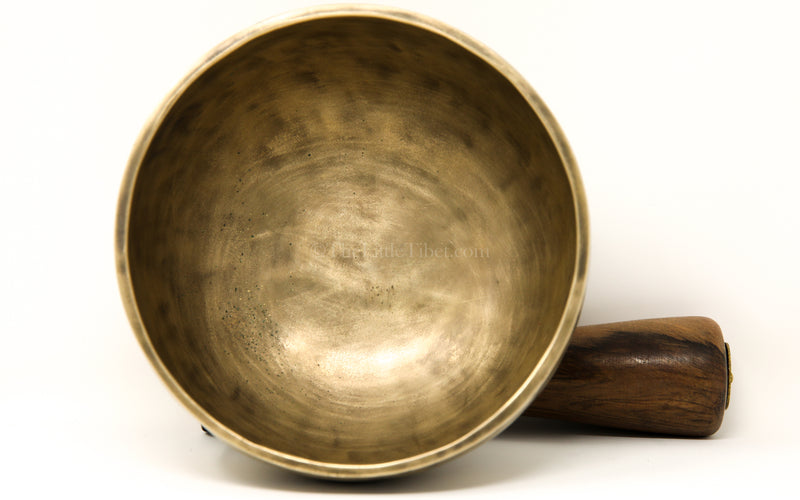 gold Full Moon Hand Hammered Singing Bowl interior
