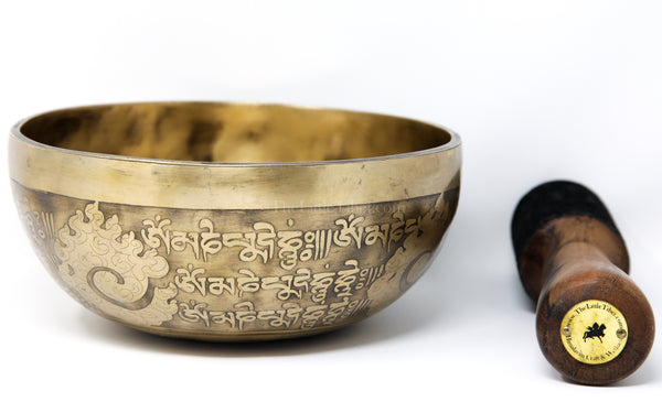 gold Endless Knot Tibetan Singing Bowl auspicious symbols etching with stick