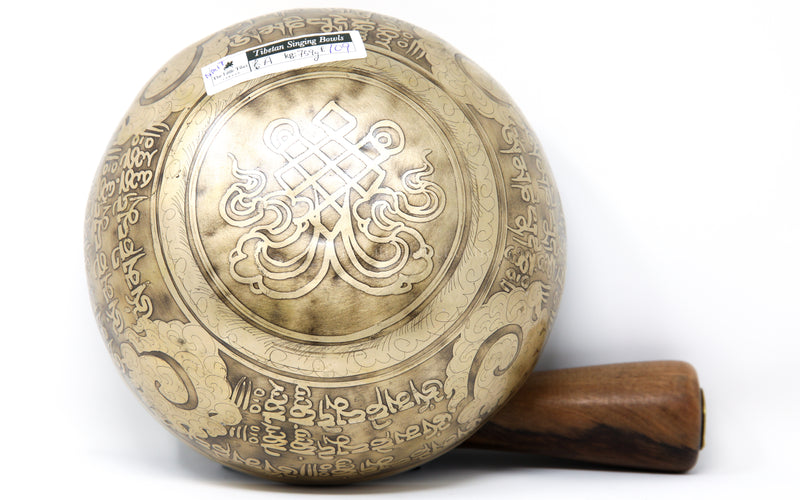 gold Endless Knot Tibetan Singing Bowl auspicious symbols etching exterior