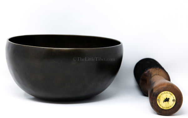 black dark gold Flower of Life lotus Singing Bowl with stick