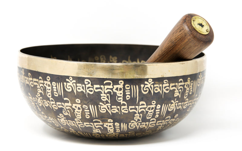 Om Mani Pad Me Hum Dark Gold Hand Crafted Singing Bowl