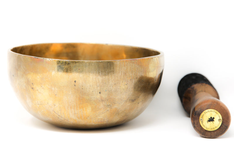 Large gold Plain Hand hammered Singing Bowl with stick