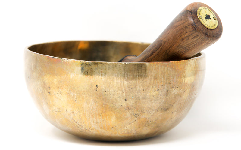 Large gold Plain Hand hammered Singing Bowl with stick inside