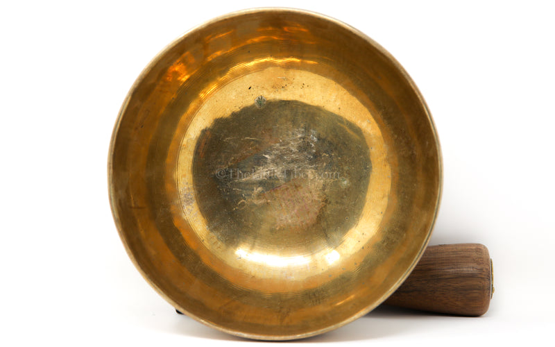 large gold Plain Hand crafted Singing Bowl interior close up