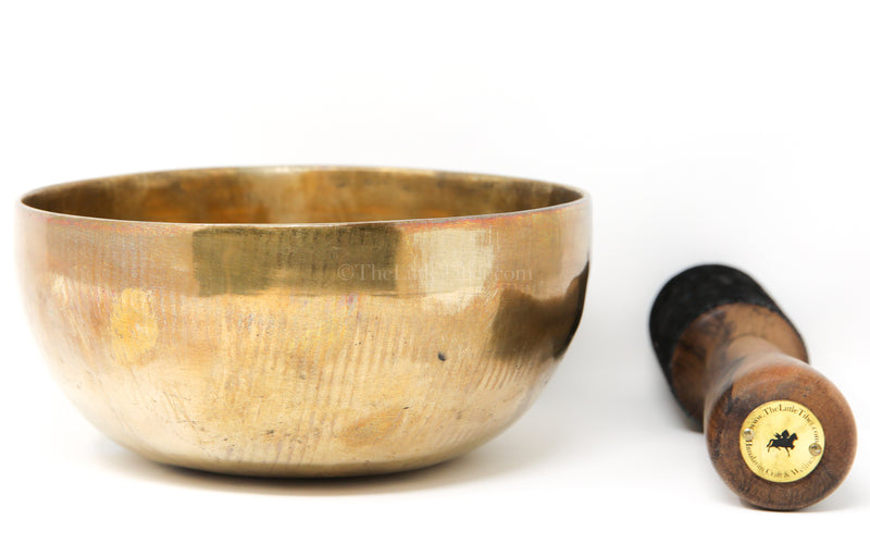 large gold Plain Hand crafted Singing Bowl with stick