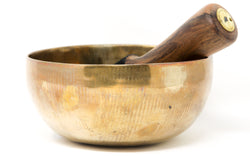 large gold Plain Hand crafted Singing Bowl with stick inside