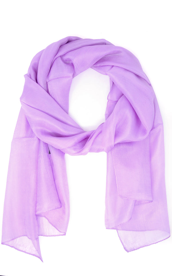 Summery lilac coloured pure silk scarf with lightweight feel and soft touch
