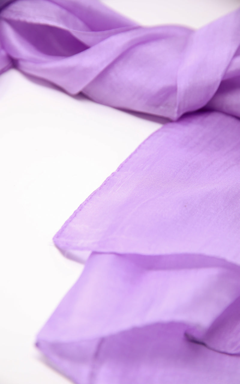 close up of Stylish summer lilac well weaved  pure silk scarf