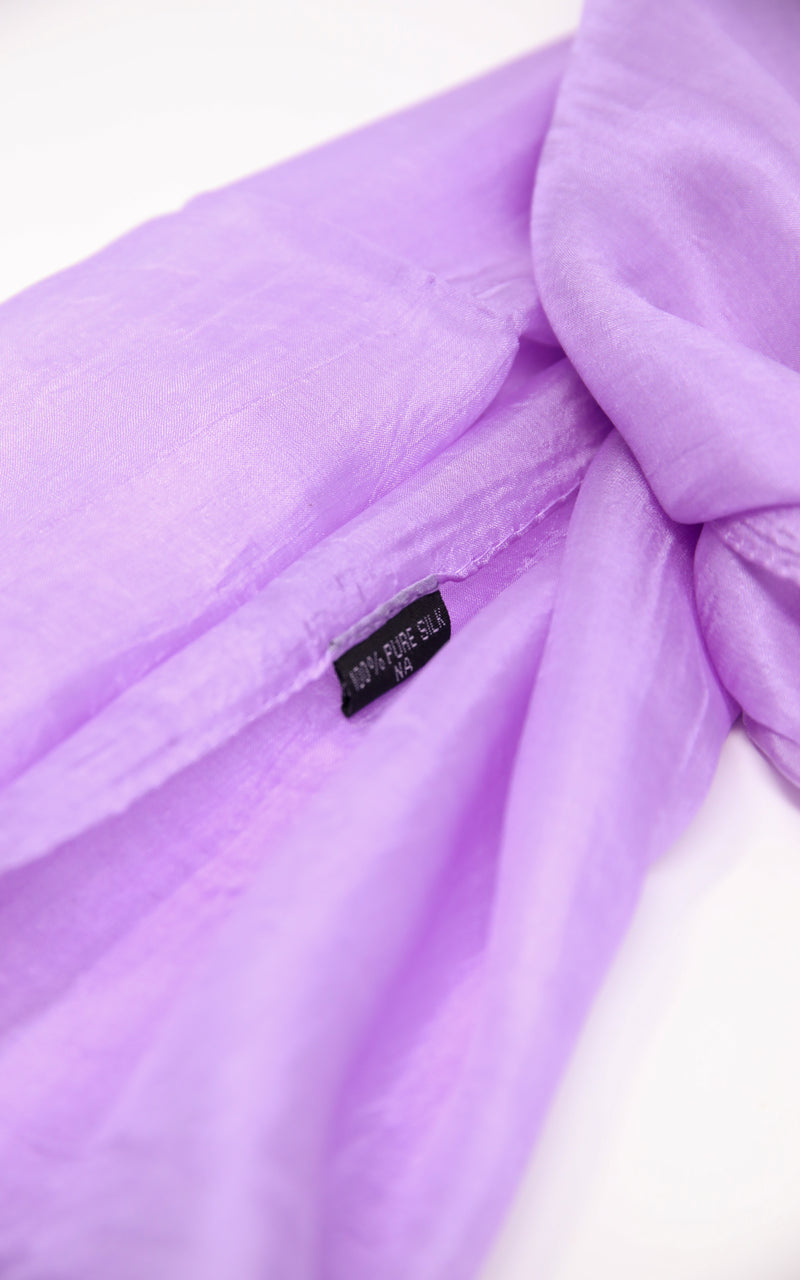 close up of  summer lilac well weaved  elegant 100% silk scarf