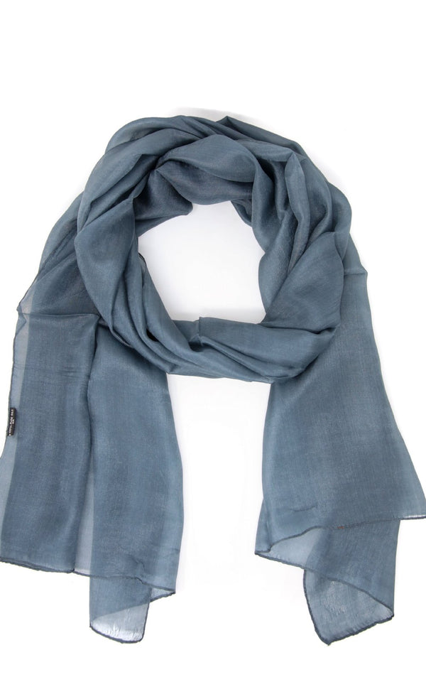 Close up of the Neutral grey toned lightweight Pure Silk scarf