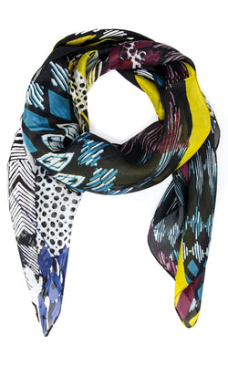 Eye-catching and distinctive pure silk scarf with sky blue, turqouise,  yellow and black
