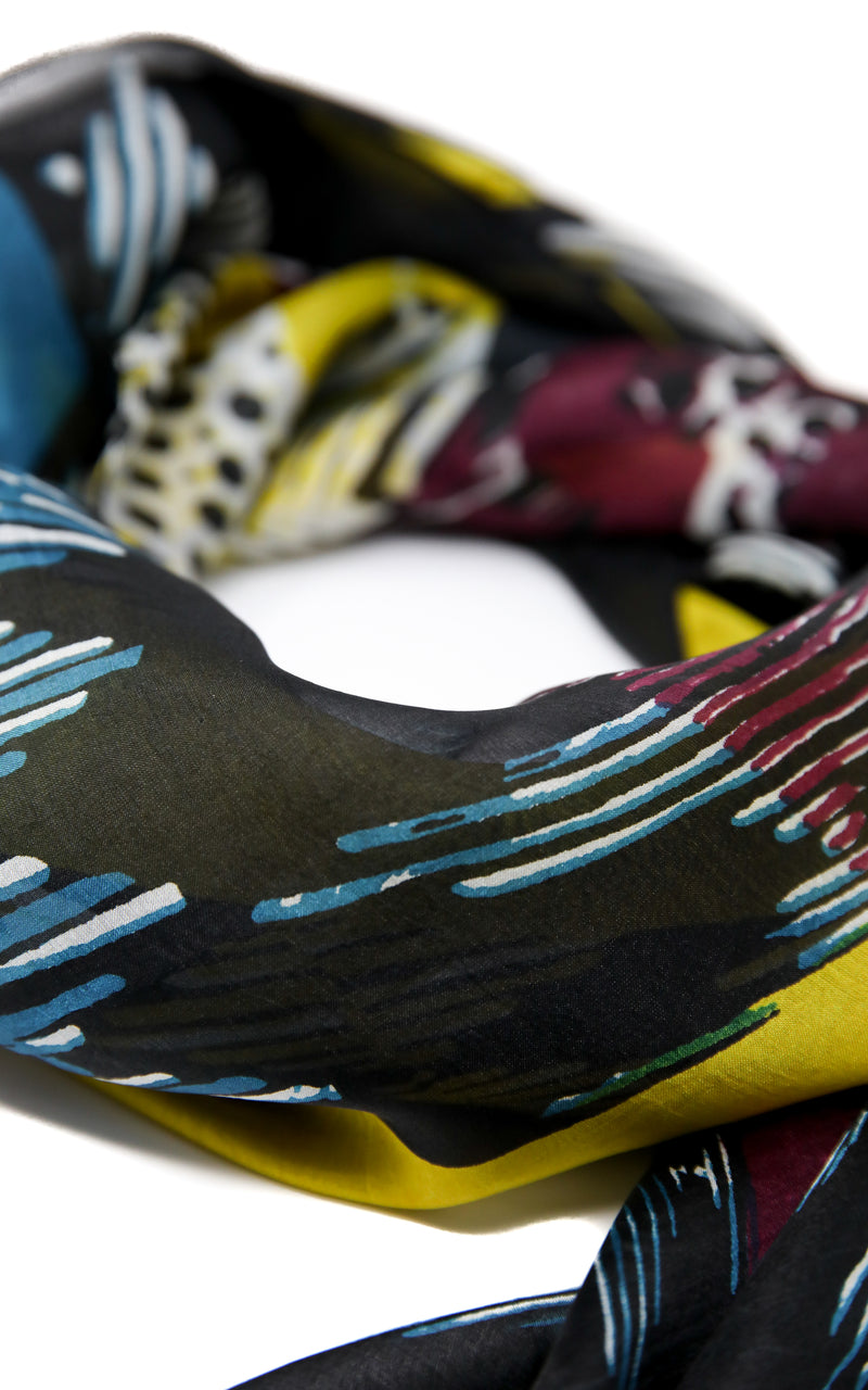 Distinctive pure silk scarf with sky blue, turqouise,  bumblebee yellow and black accents