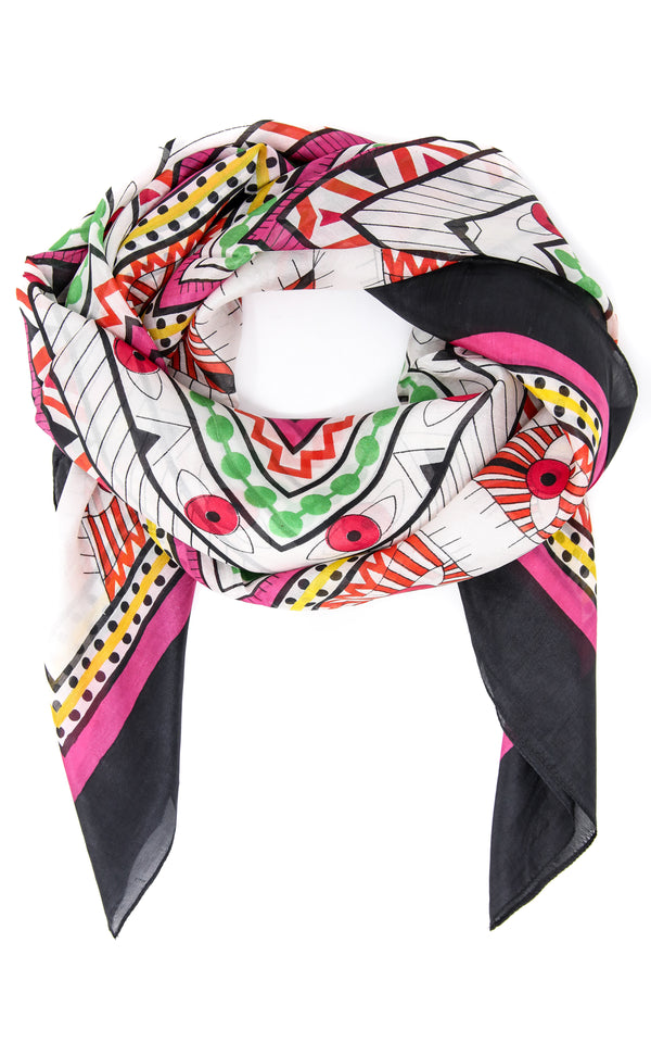Colourful printed summer silk scarf with bubblegum pink, white and mint green accents