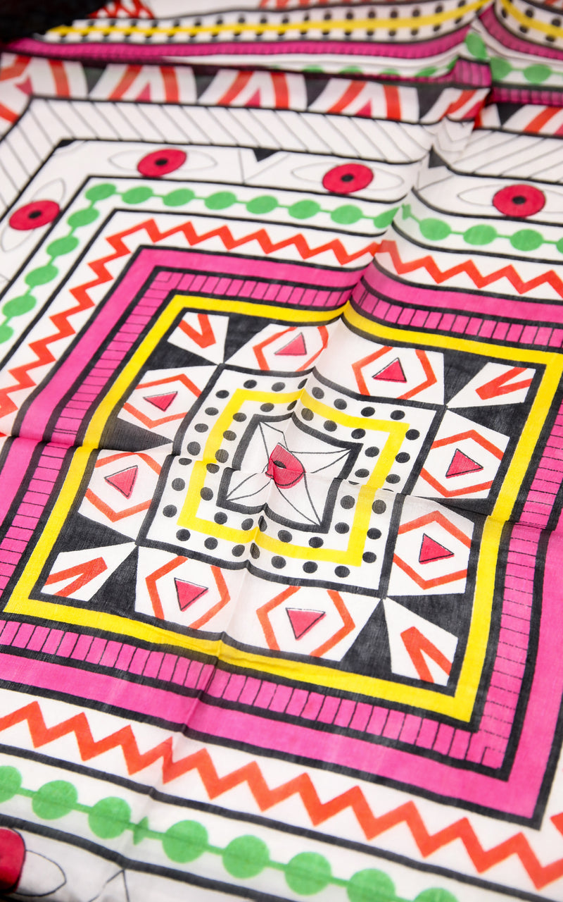 Close up of Colourful printed summer silk scarf with bubblegum pink, white and mint green accents