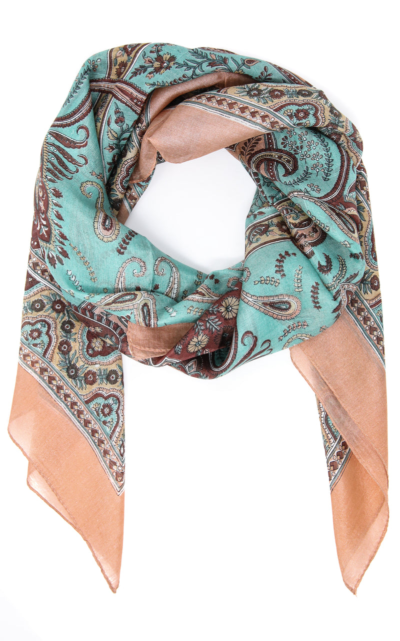 Mint Green and peach paisley designed lightweight 100% silk scarf