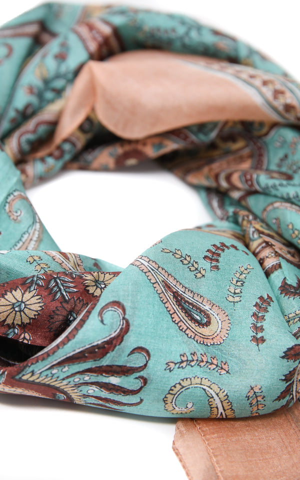 Mint green and light blue paisley detailed 100%  pure silk summer scarf