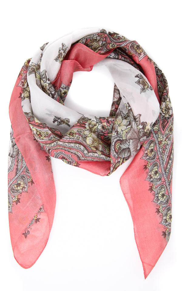 100% silk coral printed design with pink and white accents scarf