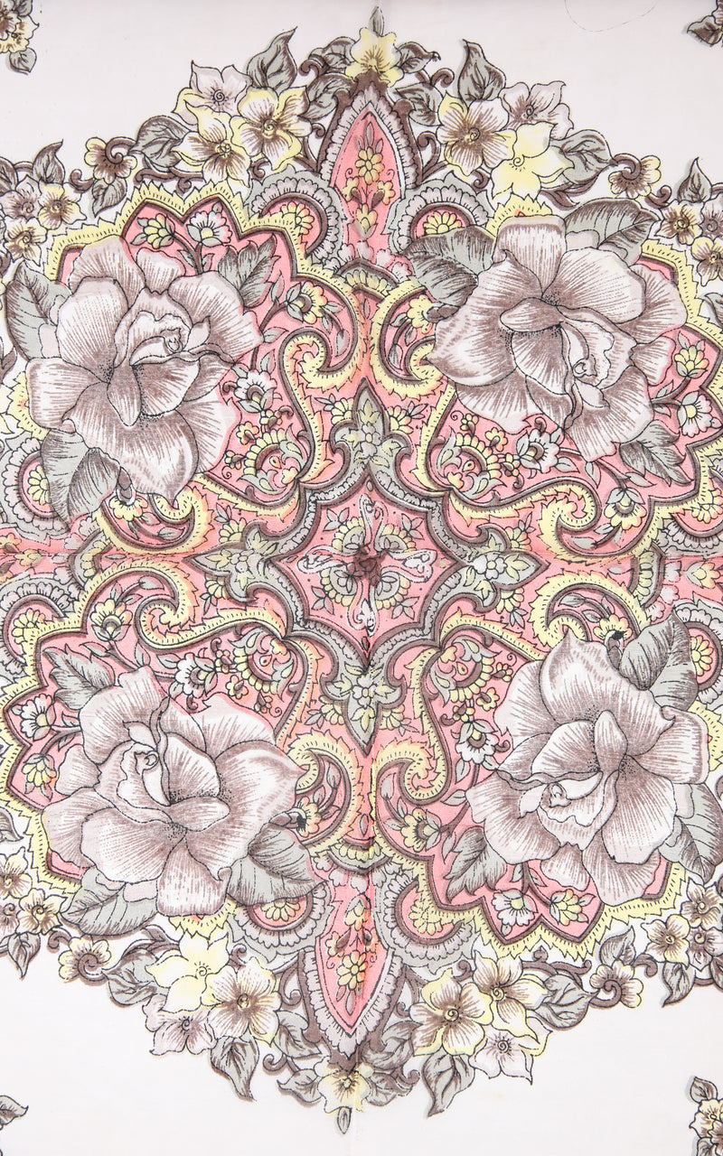 pattern close up of 100% silk scarf coral printed design with pink and white accents