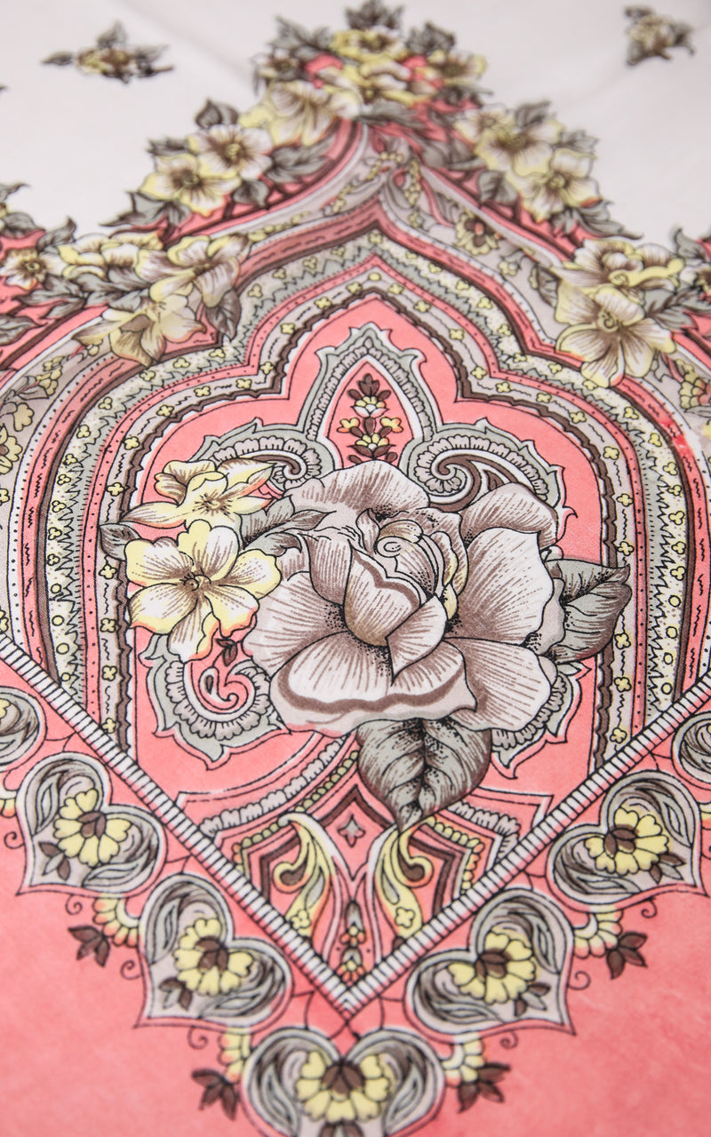 pattern close up of pure silk scarf coral printed design with pink and white accents