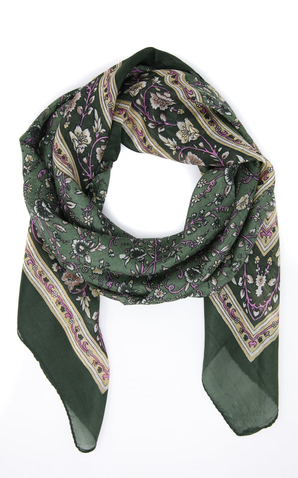 Dark forest green stylish lightweight 100% silk scarf