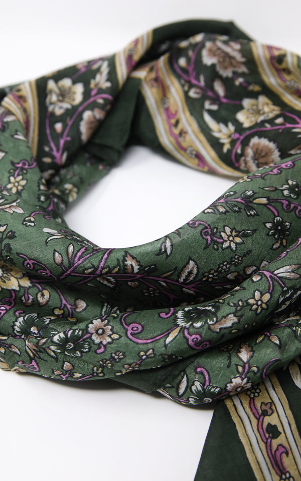 Close up of Dark forest green stylish lightweight 100% silk scarf