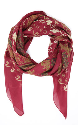Elegant Maroon and gold accented luxury pure silk scarf  free uk shipping