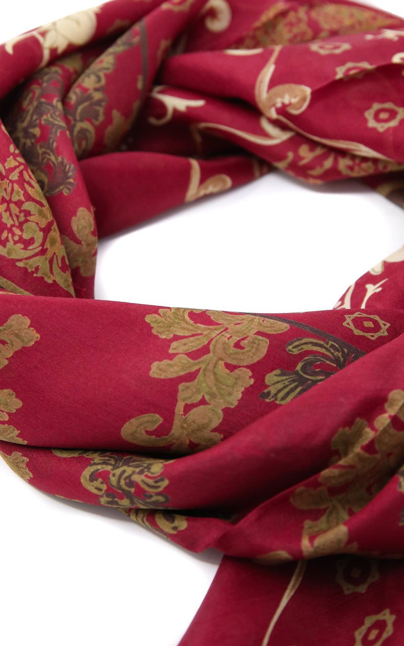 Close up of Maroon Red with gold detail  100% Silk scarf  Free Uk Shipping