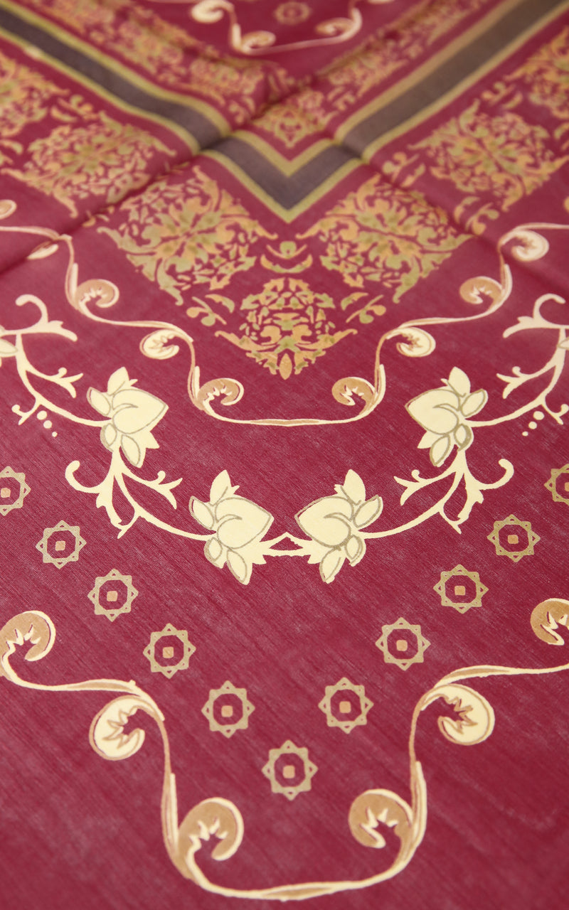 Close up of Maroon Red with gold detail pattern  luxury stylish 100% Silk scarf