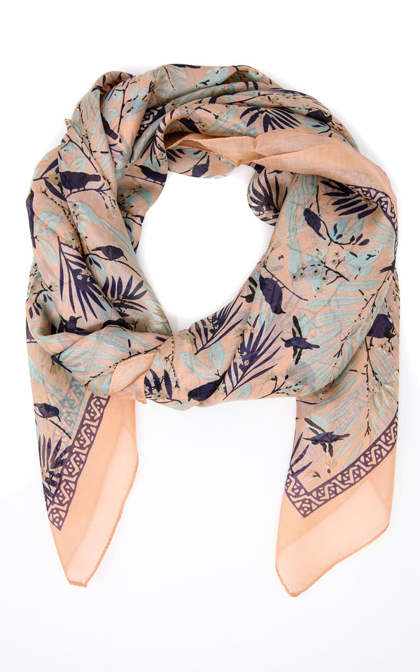100% silk Tropical inspired design peach and beige  summer  scarf