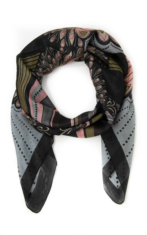 Lillian square silk scarf-SQ2032