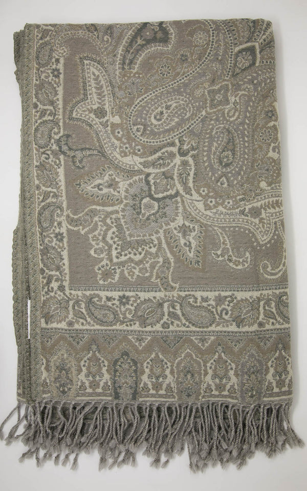 Eagle Gray Paisley Boiled Wool Blanket-(BW EG ), The Little Tibet
