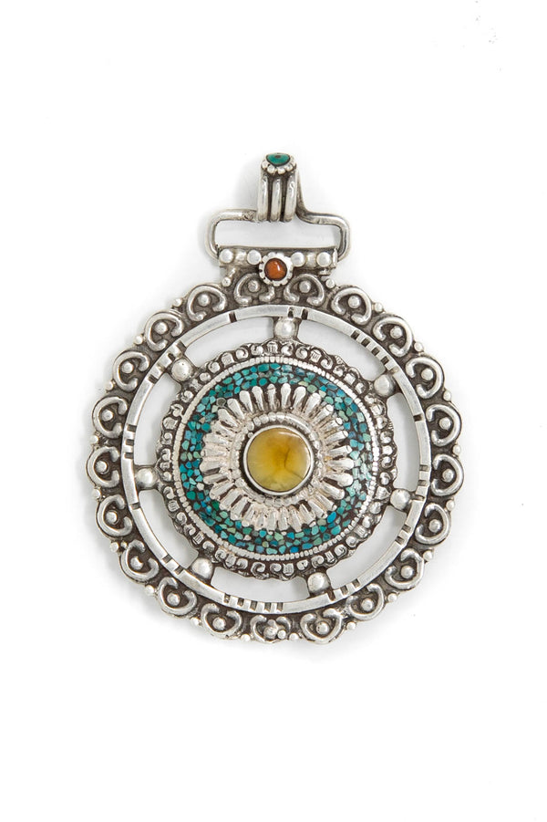 Tibetan Wheel Silver Hand Crafted Pendant, The Little Tibet