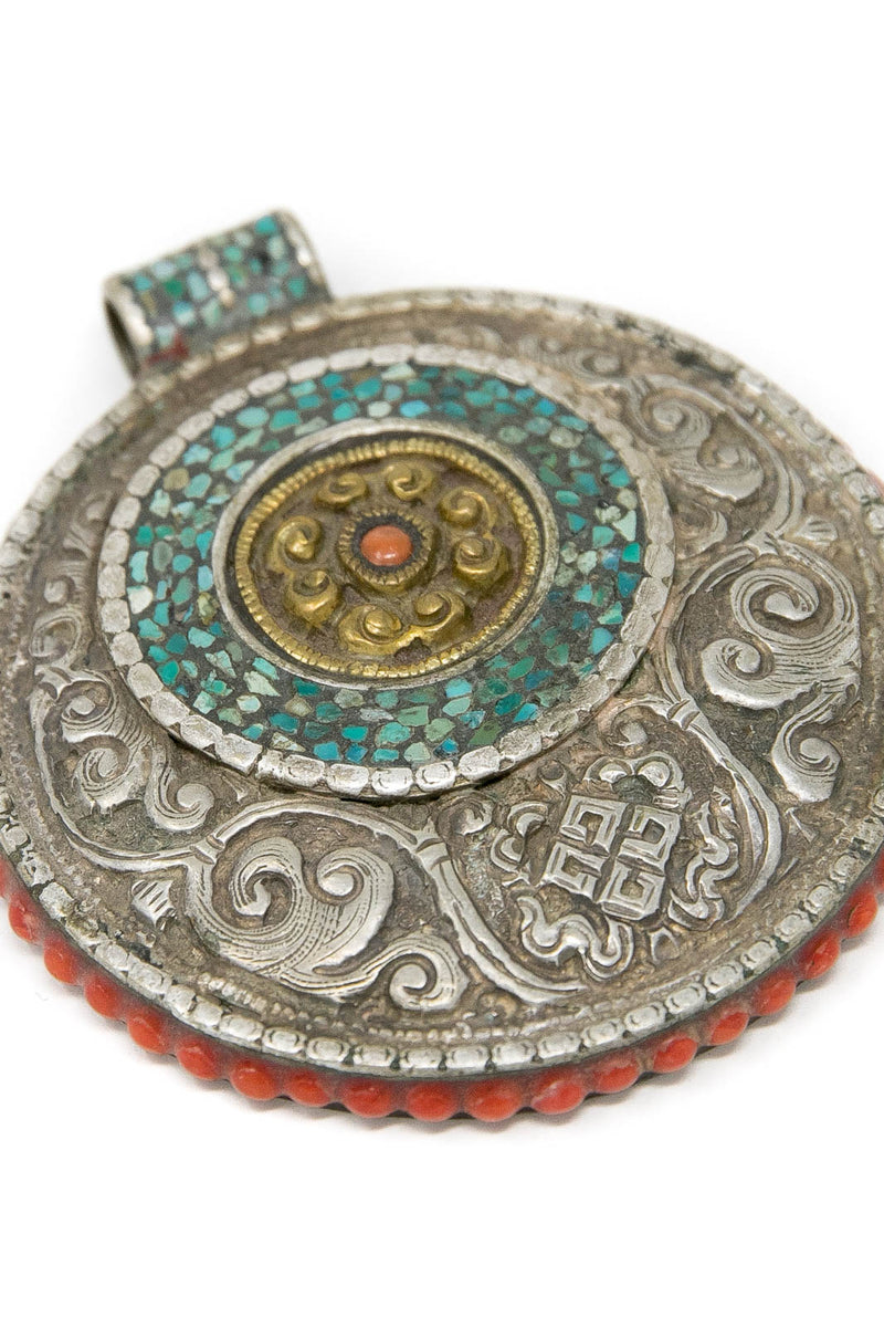 Tibetan Ornament Silver Hand Crafted Pendant, The Little Tibet