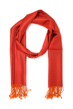 Cathy Orange , Reversible Silk Scarf - TTM280
