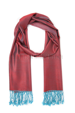 Leona Pink-Red with turquoise colour , Reversible Silk Scarf - TTM281