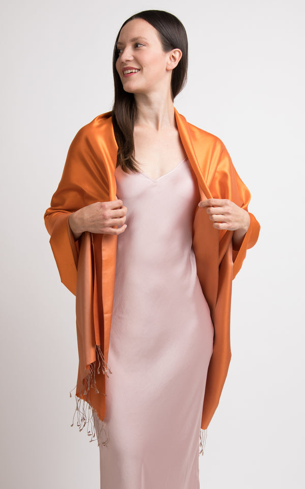 Florence Orange Fine Silk Wrap Pashmina shawl- TT45-218, The Little Tibet