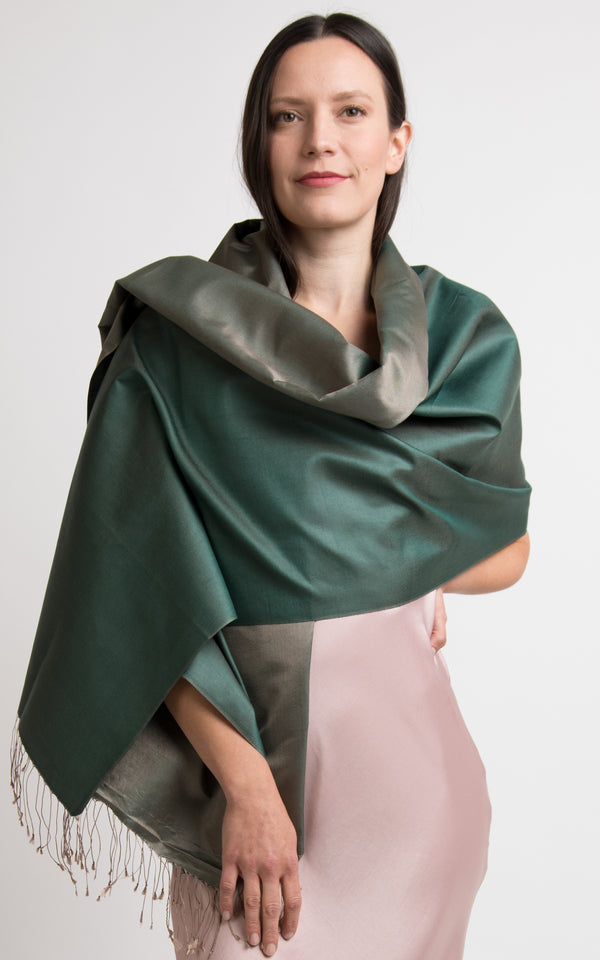model wearing reversible green silk scarf silk wrap made in tibet The Little Tibet London