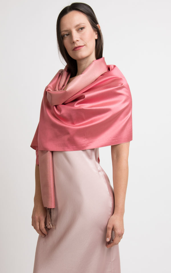 Harper Peach Fine Silk Wrap - TT45-220 - The Little Tibet