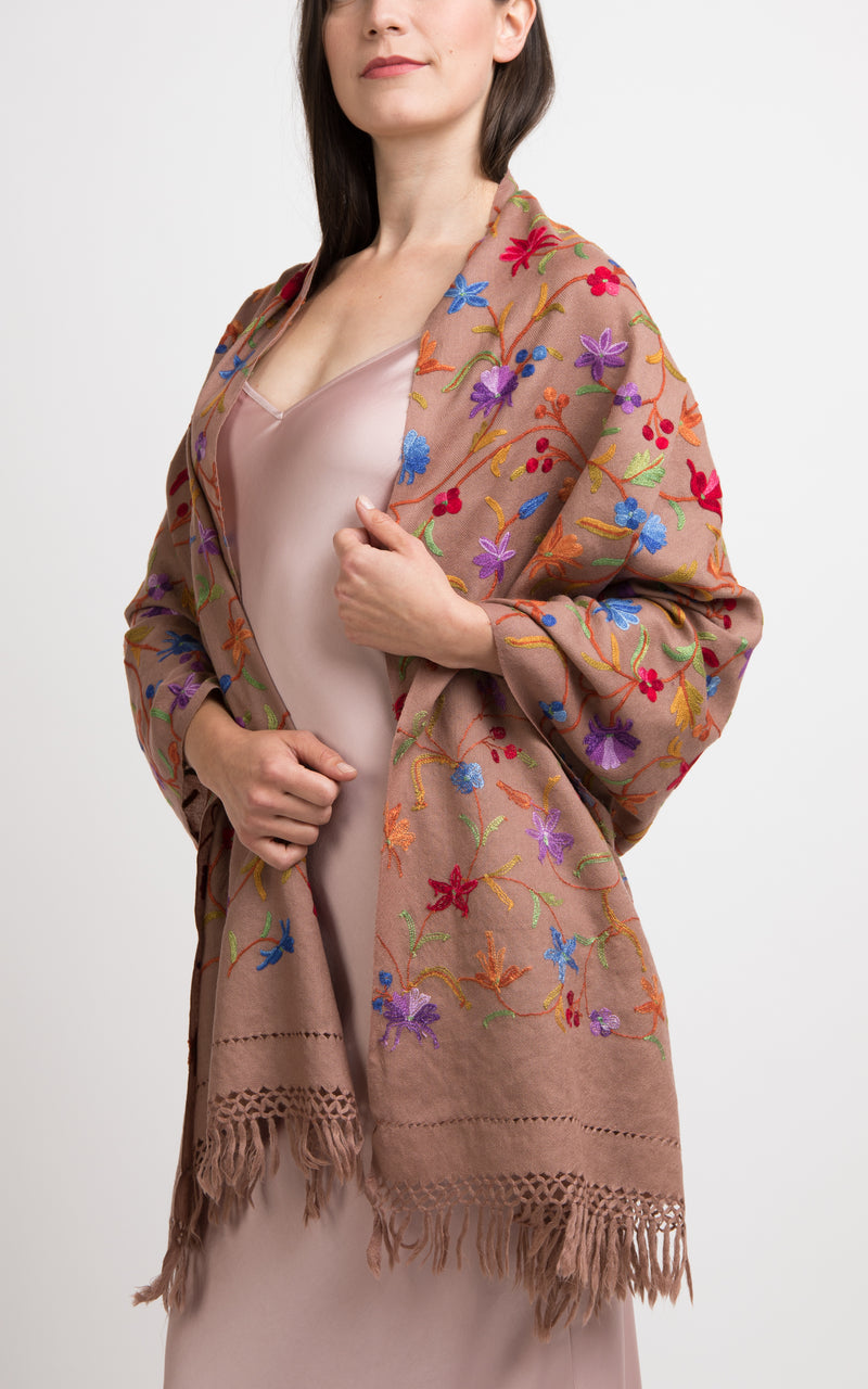 Floral Pecan Embroidered Wool Shawl, The Little Tibet
