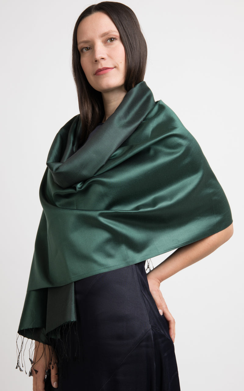 Forest Green Fine Silk Wrap - TT45-219