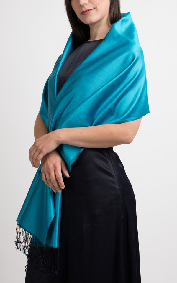 Lara Teal Blue Fine Silk Wrap - TT45-216 - The Little Tibet