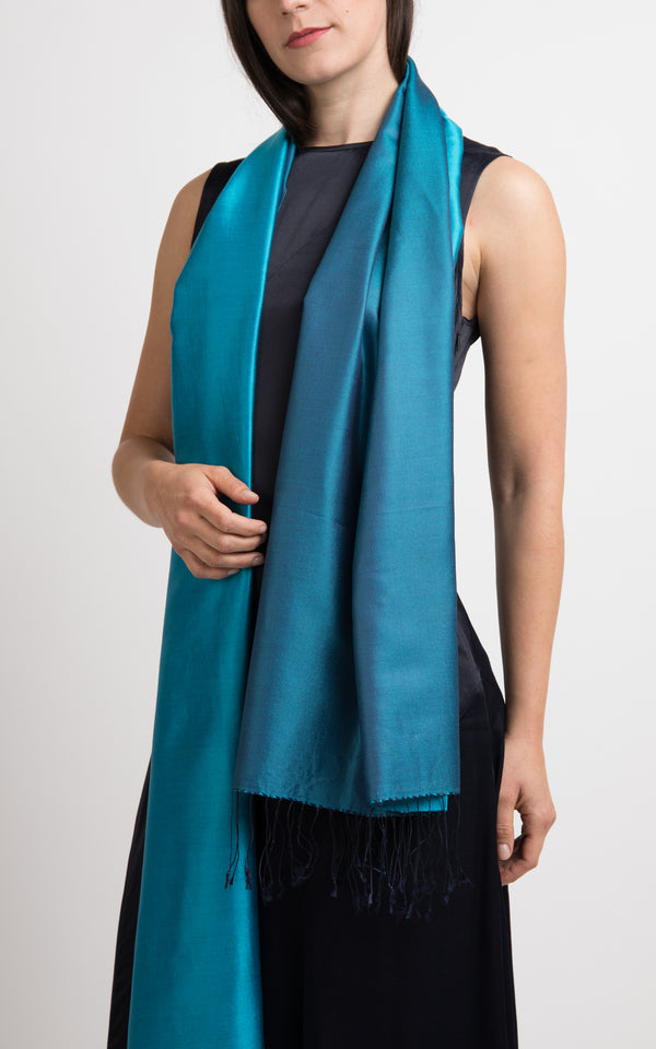 Lara Teal Blue Fine Silk Wrap - TT45-216
