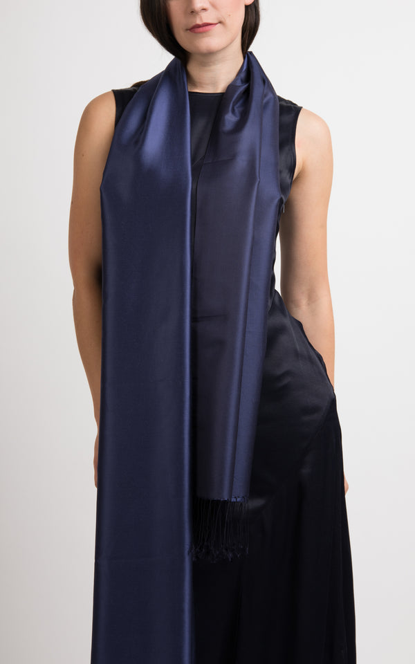 Luna Navy Fine Silk Wrap - TT45-217 - The Little Tibet