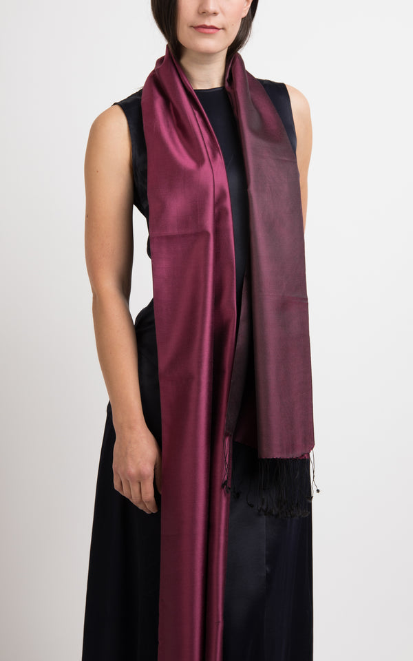 Ella Plum Fine Silk Wrap - TT45-210, The Little Tibet
