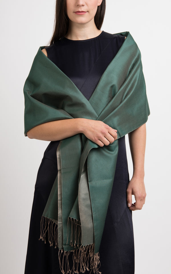 model wearing reversible green silk scarf pashmina shawl made in tibet The Little Tibet London