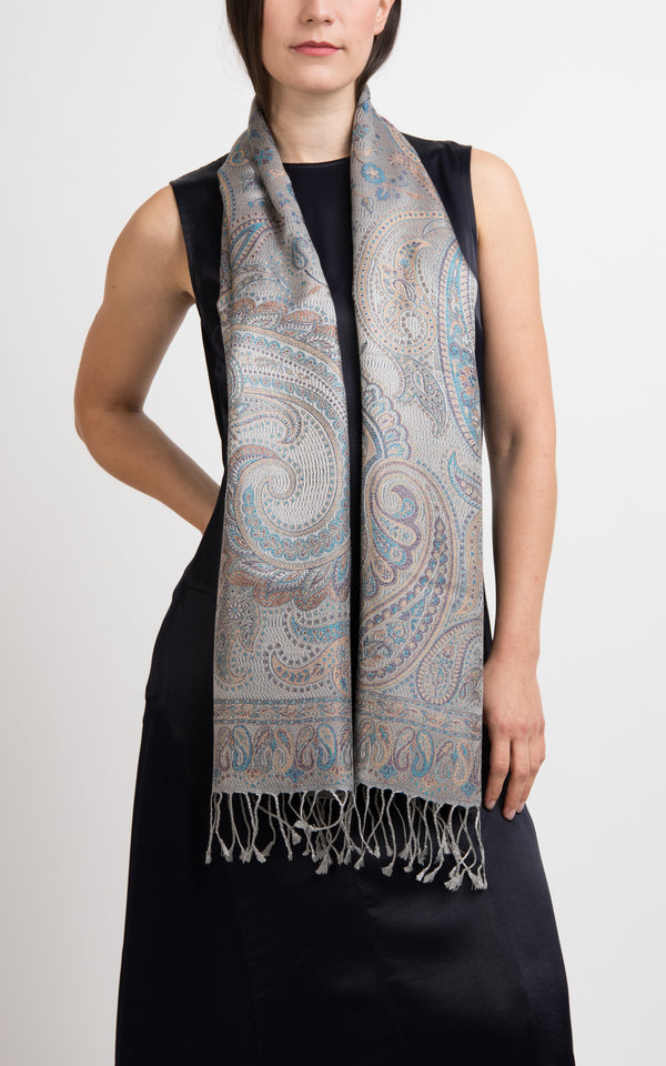 Eleanor Silver Silk Scarf - MCS13