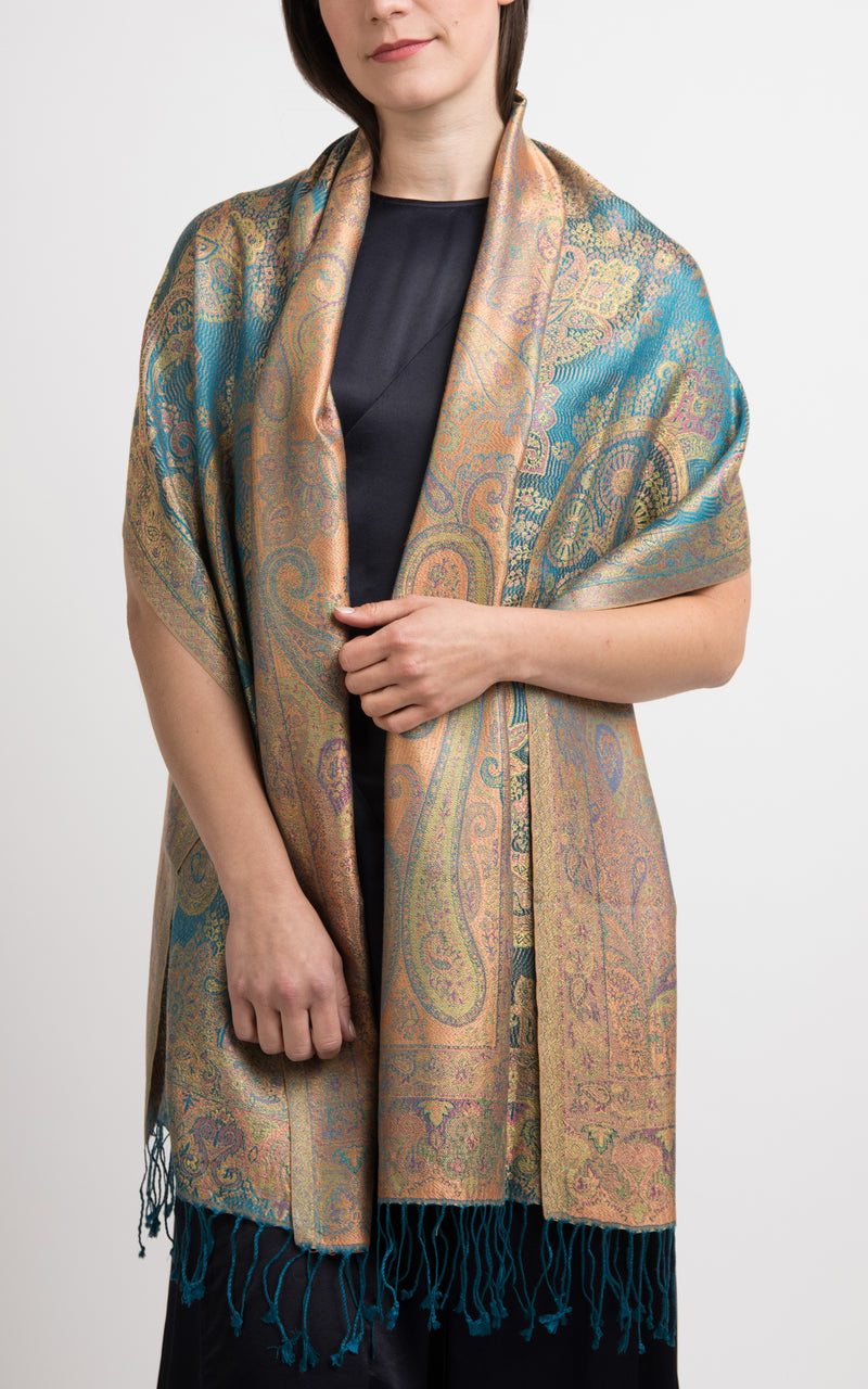 Golden Teal Silk Pashmina-Silk Scarf-MCM105