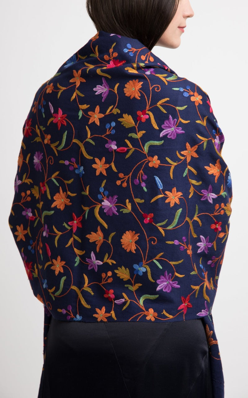 Floral Blue Embroidered Wool Shawl, The Little Tibet